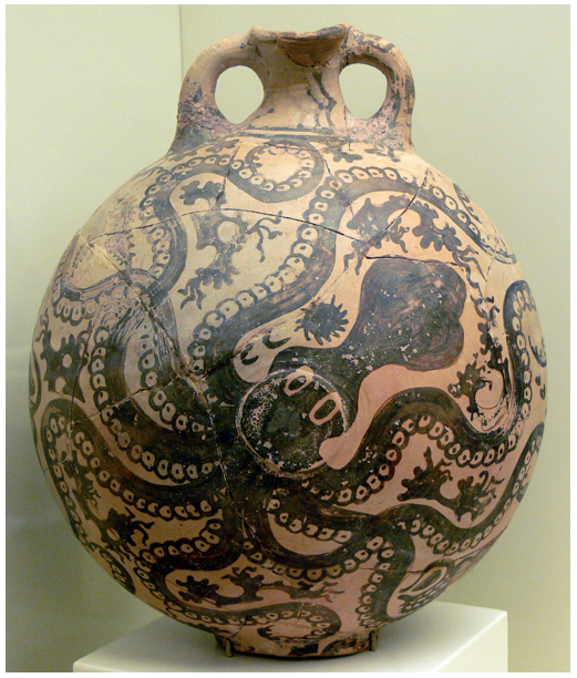 Minoan clay bottle illustrating an Octopus (c.1500-1450 BC), Archaeological Museum in Herakleion