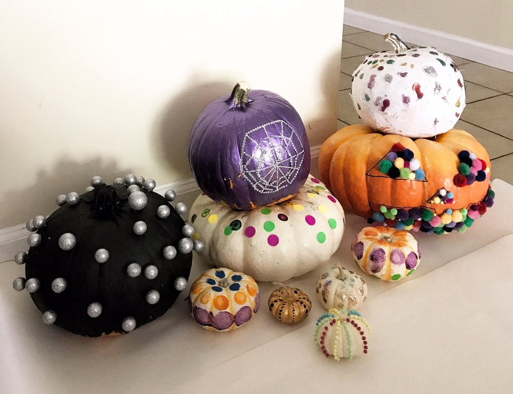 Halloween art history - dot themed pumpkins in the style of 3 different artists