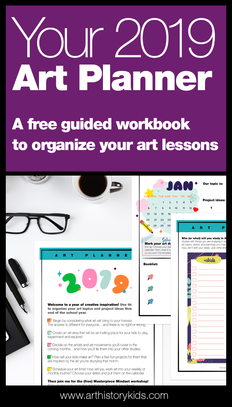2019 Art lesson planner. Get ready for a year of inspirational art activities with this free planning workbook. Perfect for homeschool art units or co-op leaders.