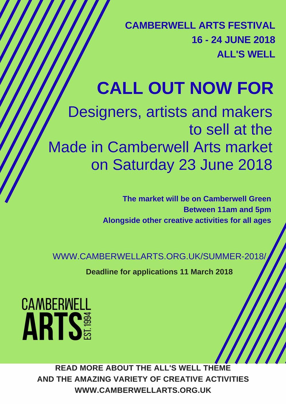 Click  HERE  for the application to take part in the Made in Camberwell market