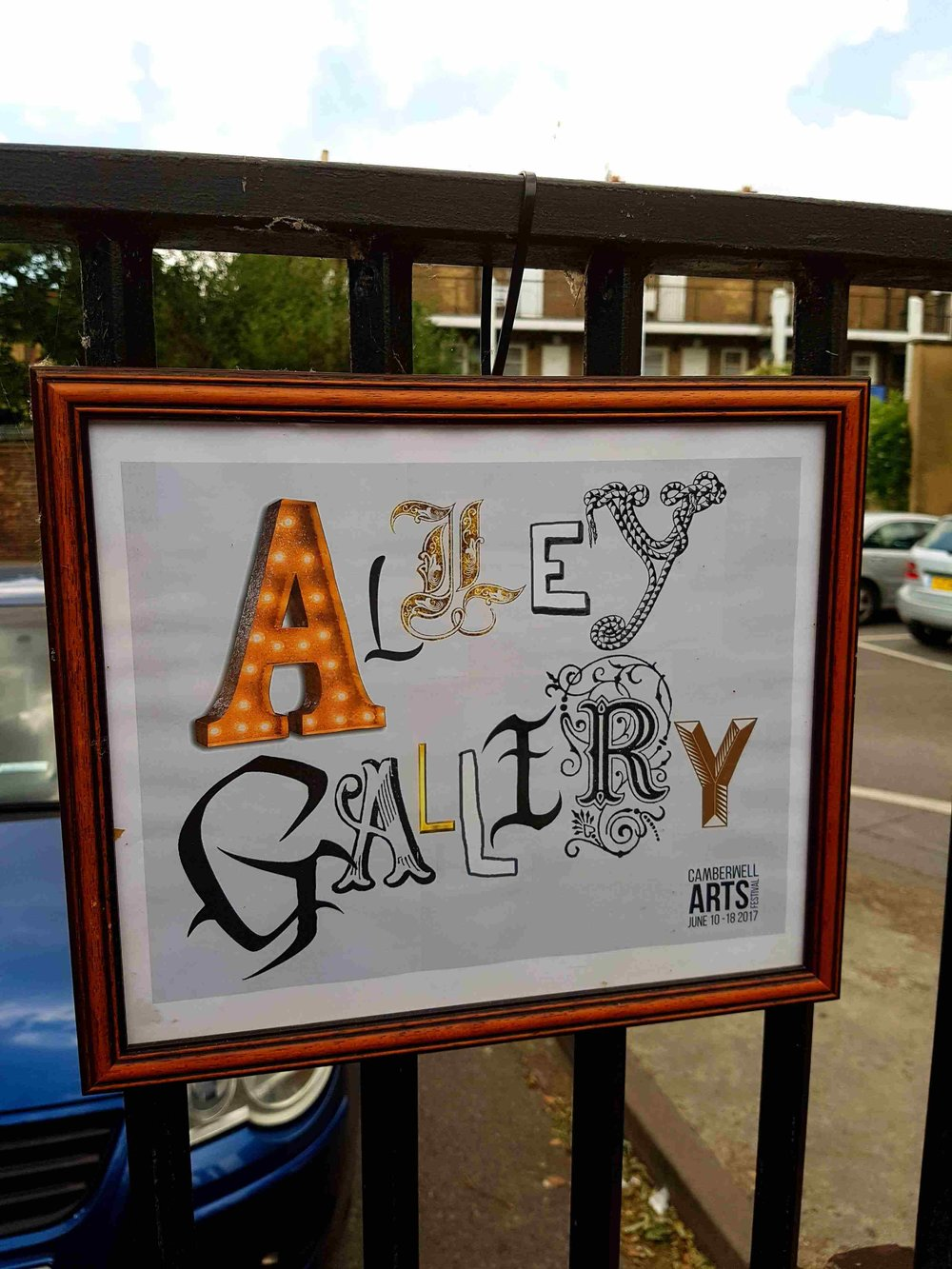 Alley Gallery is a temporary public Art Gallery on Daneville Road pedestrianised area (the railings beside Butterfly walk car park). We will showcase a cornucopia of artists who hae been involved with Camberwel Arts, the London Arts Board or who have a Camberwell connection.  Alley Gallery has been generously sponsored by Spot Property.