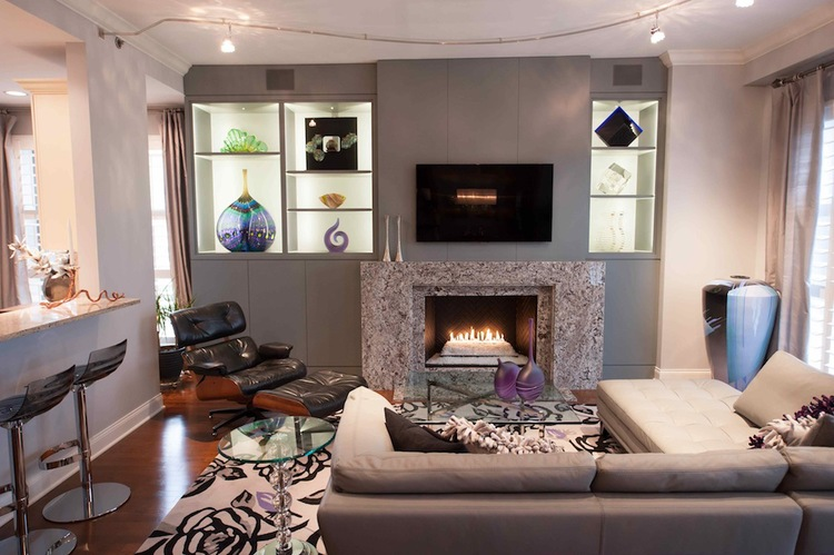 CHICAGO LIVING ROOM No Job Is Too Small We Renovated A Wall In The Living Room With New Fireplace Surround And Custom Cabinetry To Accommodate Storage
