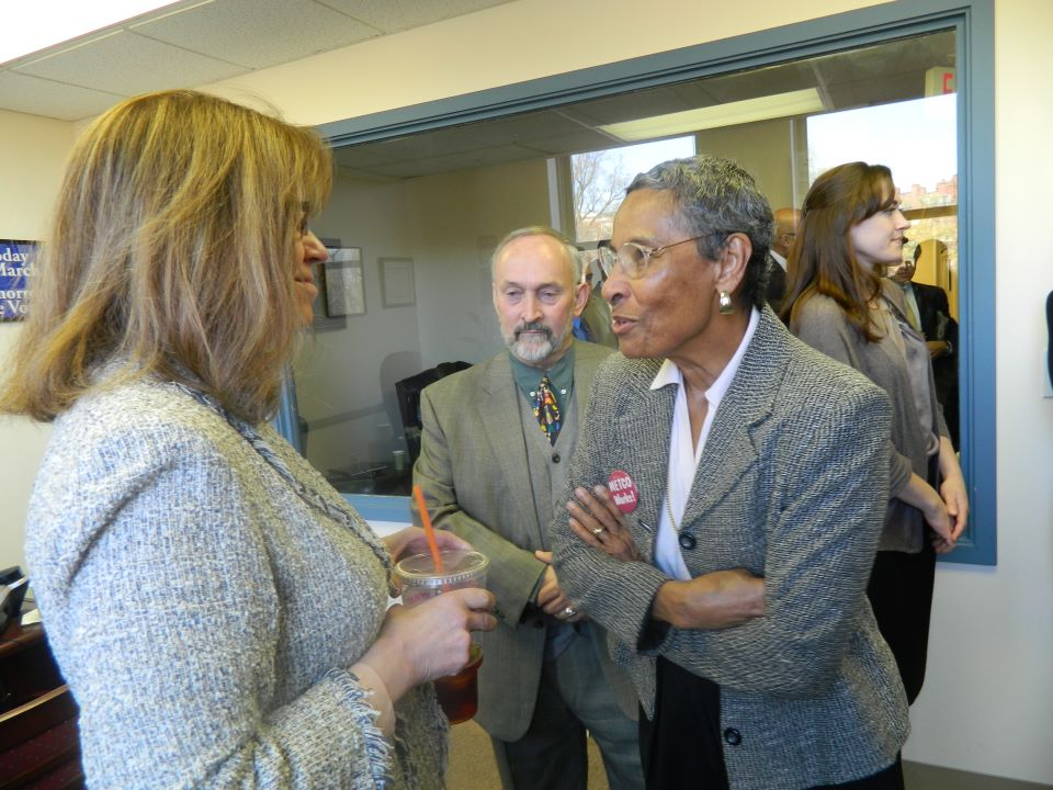 Jean McGuire, Executive Director of the METCO Program, speaks with former Senate President Therese Murray