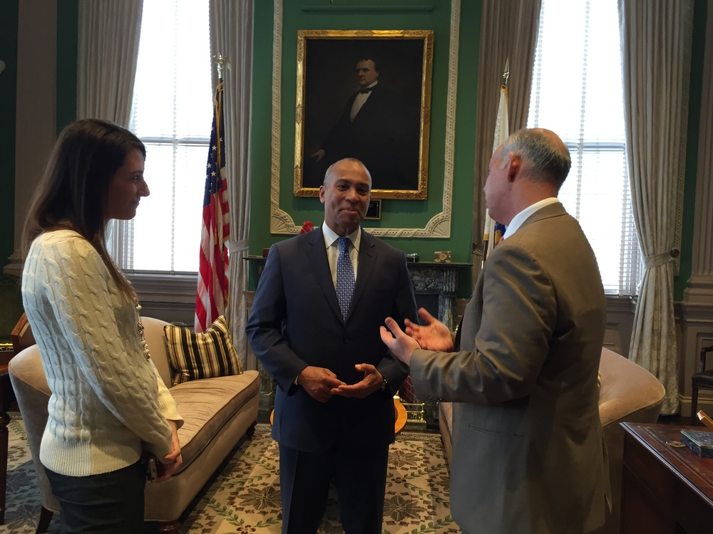 Charles and Kate saying goodbye to former Governor Deval Patrick
