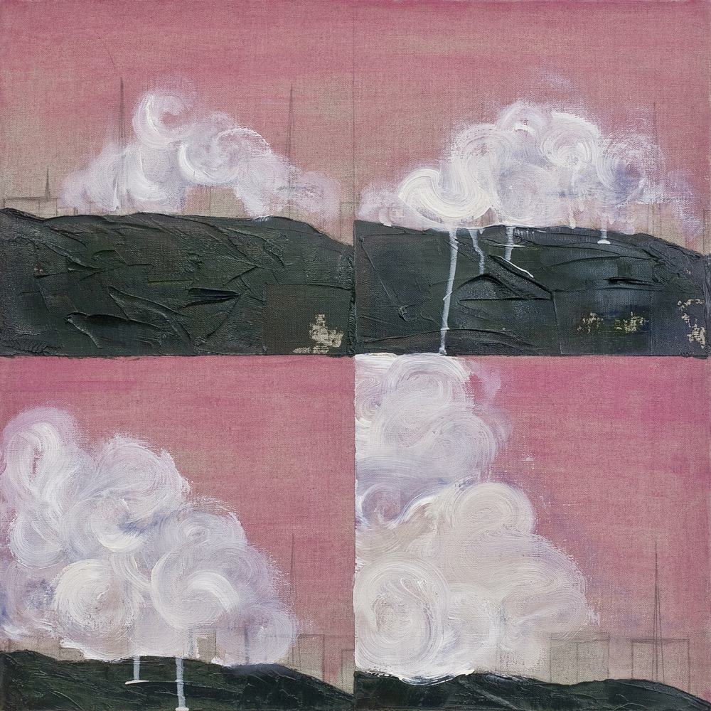How to Paint Clouds (Step 1, 2, 3, 4) , oil and pencil on linen, 51 x 51 cm,  2012