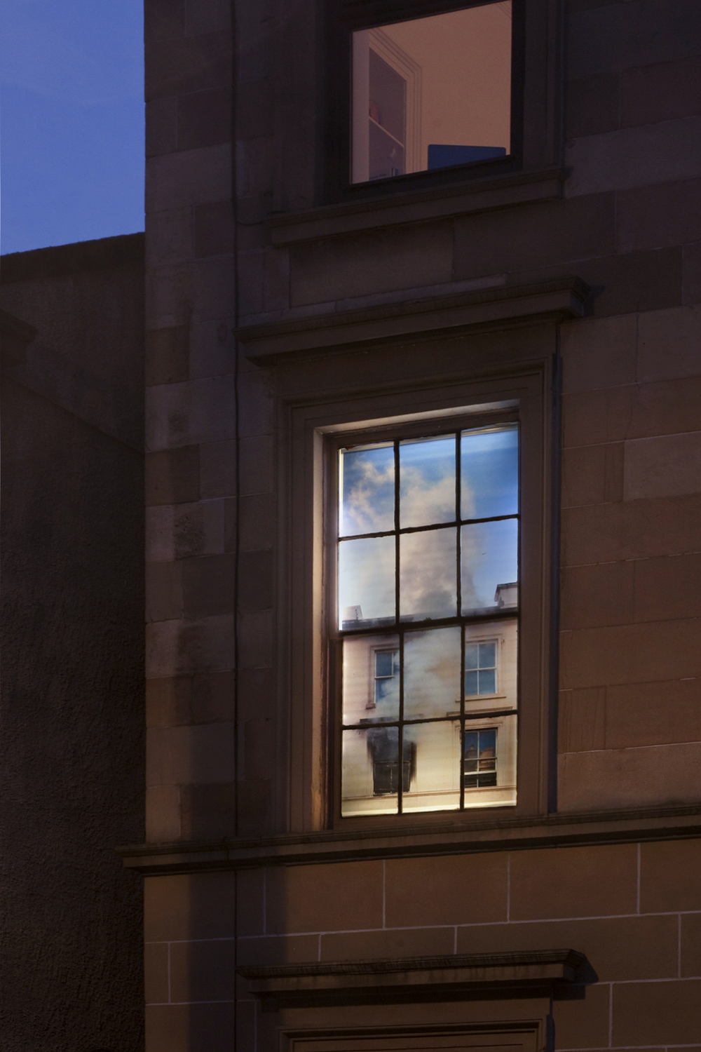 Tinderbox,  224x113cm, pigment on backlit film in window lightbox, 2012  Glasgow, also called the 'Tinderbox City'. This work was installed facing the street and only visible to the public outside the gallery space.