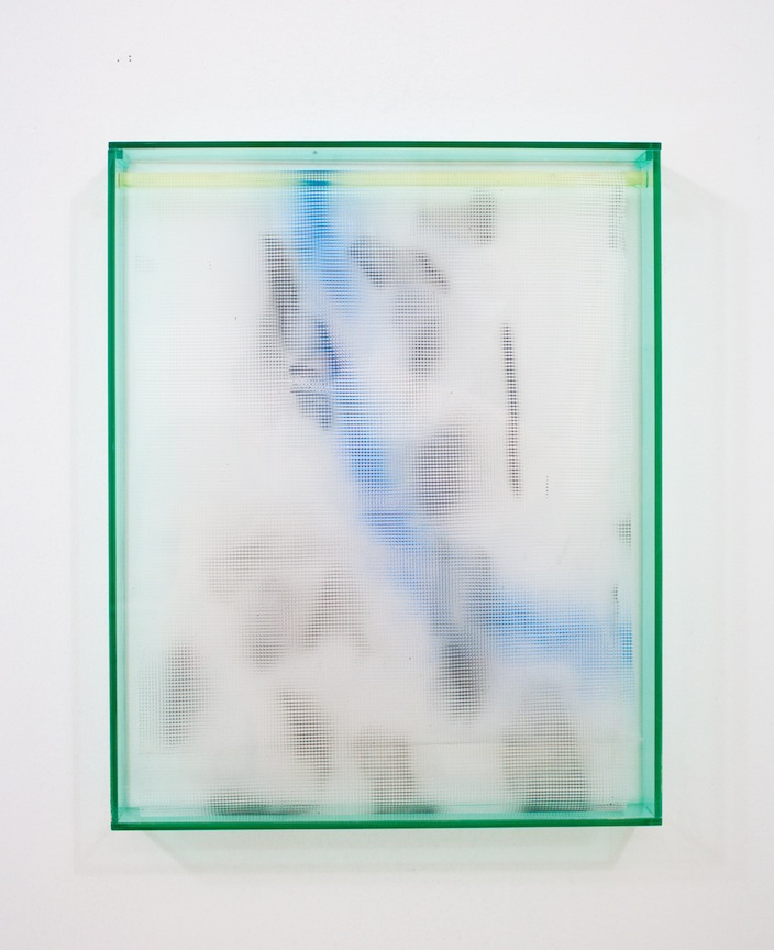 Vacation Painting (Cape Town)   2013 Plexiglas, plastic mesh and spray enamel 20 x 16 x 1 ¼ in/ 50.8 x 40.6 x 5.7 cm