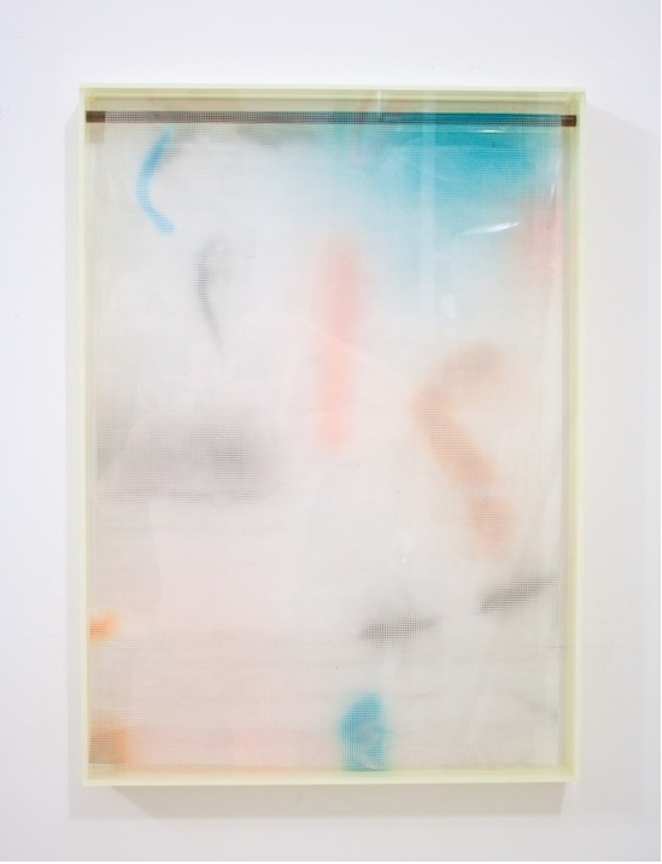 Vacation Painting (Palau)   2013 Plexiglas, plastic mesh and spray enamel 28 x 20 x 1 ¼ in/ 70 x 50.8 x 5.7 cm