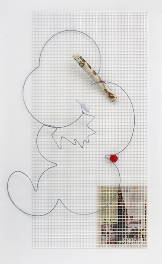 Times Infinity   2013 Wire, plastic grid, ball, pages from AM New York and plastic hand 48 x 24 in/ 120 x 61 cm