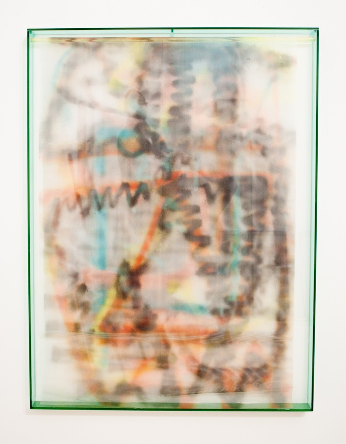 Vacation Painting (Rasta Garfield)   2013 Plexiglas, plastic mesh and spray enamel 40 x 30 x 1 ¼ in/ 101.6 x 76.2 x 5.7 cm