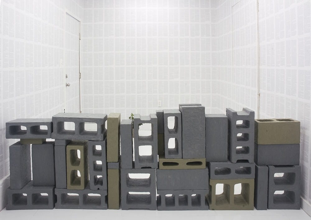 Wall   2010 Plasticine, concrete blocks 36 x 8 x 108 in/ 91.4 x 20.3 x 274.3 cm