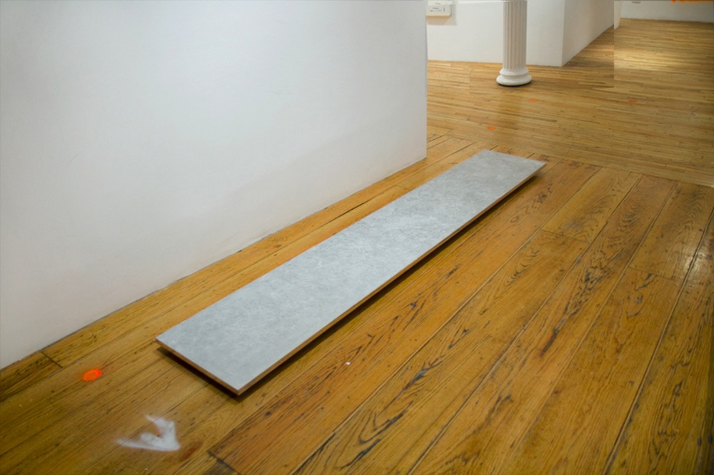 Untitled (Longboard) , or  Traction  or  An Attempt at Intimacy   2013 Tropical Sex Wax on hand polished extruded aluminum 120 x 120 x 1 in/ 304.8 x 50.8 x 2.5 cm