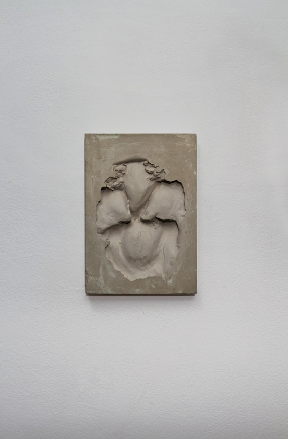 Tablet B1  ,  2013 Gypsum cement, unfired ceramic clay and powdered brass 10 x 7 x 1 in/ 25.4 x 17.8 x 2.5 cm