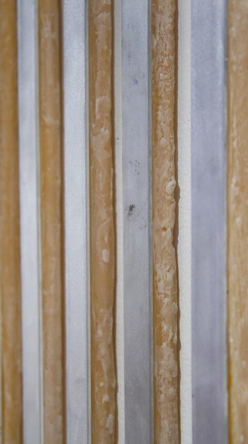 Array v1.1  DETAIL2013 Aluminum, victory wax, sculpting wax and Sex Wax 62 x 11  ½ x 1 in/ 157.5 x 29.2 x 2.5 cm