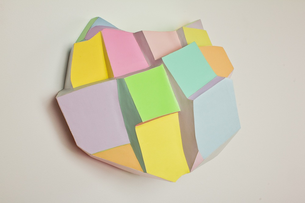 Pastel Habit   2011 Polystyrene foam, paper, foam board and acrylic paint 14 x 17 ½ x 8 in/ 35.6 x 9.5 x 20.3 cm