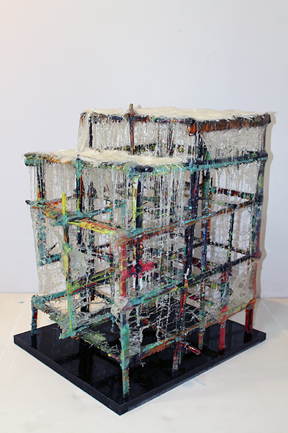 Drip Build   2012 Urethane plastic, pigment and plexiglas 36 x 24 x 26 in/ 91.4 x 61 x 91.4 cm