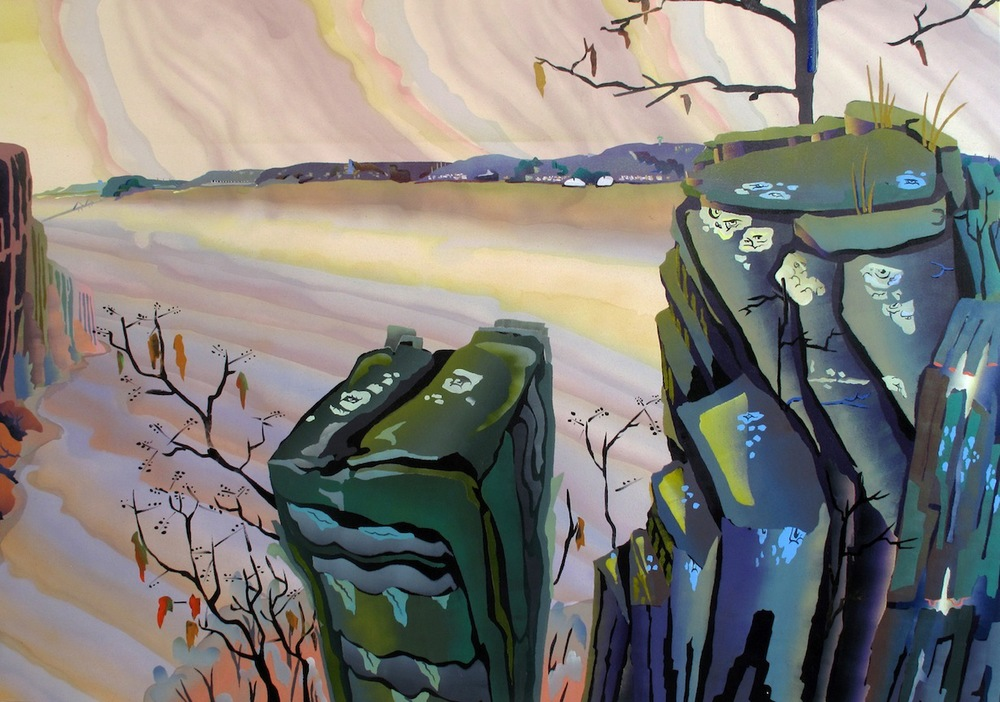 View of Kykuit     2012 Oil and dye on canvas 50 x 72 in/ 127 x 182.9 cm