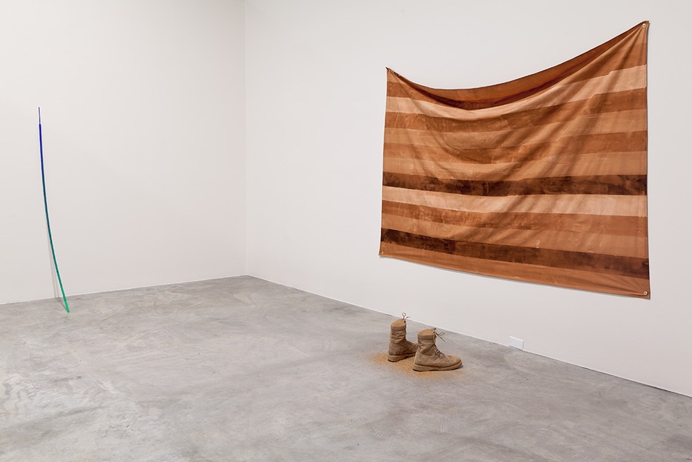 Installation View  Untitled (Pole), Untitled (Flag)  and  Sandbox