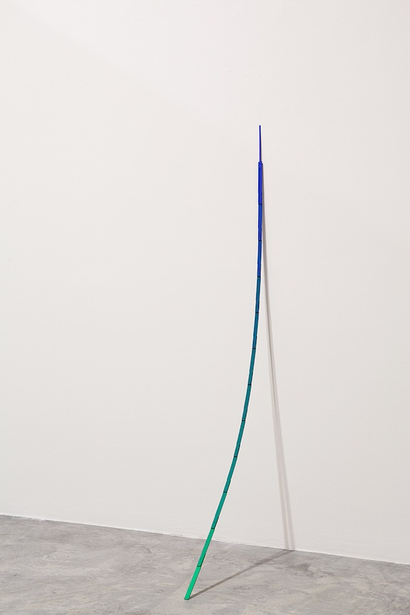 Untitled (Pole)  2012 Chroma key paints on wood 2 x 60 x 18 in/ 5 x 152.4 x 45.7 cm