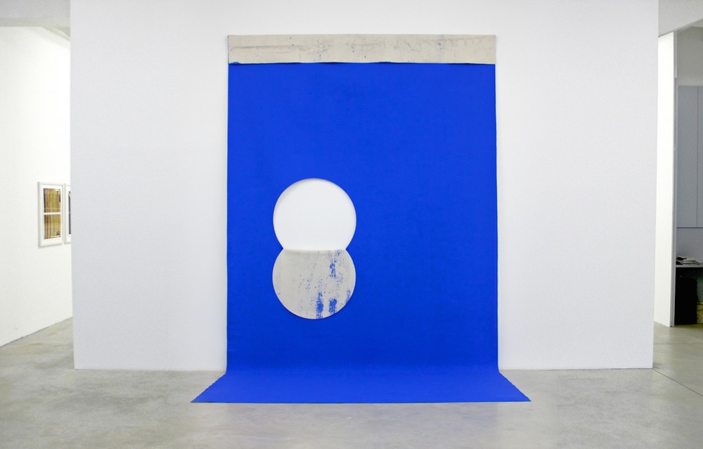 Eclipse   2011 Bluescreen paint on cut canvas 167 x 92 in/ 428 x 236 cm
