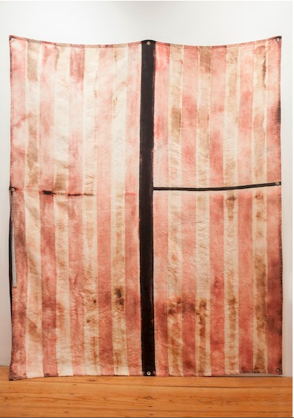 Performance # 25   2014 Bleach, black linen, measuring tape and paint 8 x 61 ½ in/ 208.3 x 156.2 cm