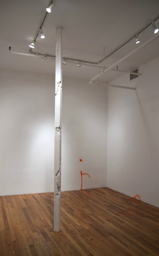 Column WWD-10   2012 Gypsum cement, unfired ceramic clay, graphite, saliva and hair 84 x 3 x 3 in/ 213.4 x 7.6 x 7.6 cm