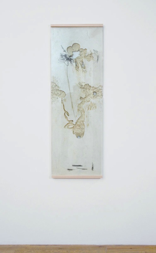 Template BSQ-G   2013 Gypsum cement, unfired ceramic clay, graphite, glass and custom sugar maple frame 48 x 16.5 x 1 in/ 121.9 x 41.9 x 2.5 cm