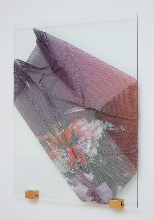 Florists' Transworld Delivery #6   2013 Perforated vinyl print, glass and metal 24 x 18 in/ 61 x 45.7 cm