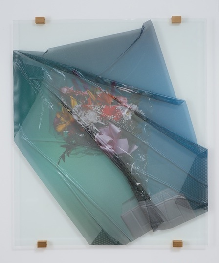 Florists' Transworld Delivery #3   2013 Perforated vinyl print, glass and metal 28 x 32 ½ in/ 96.5 x 82.6 cm
