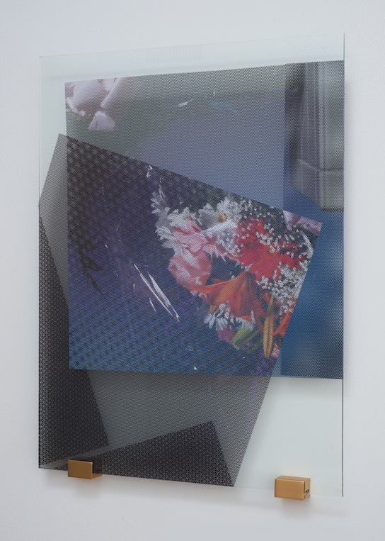Florists' Transworld Delivery #2   2013 Perforated vinyl print, glass and metal 24 x 18 in/ 61 x 45.7 cm