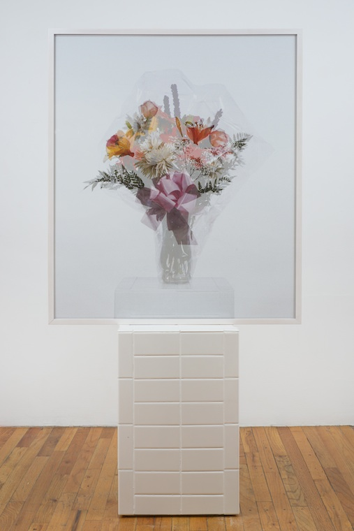 Memento Mori on Bottom   2013 Perforated vinyl print, dried flowers, wood and ceramic tile 64 x 33 ¾ x 14 ¾ in/ 162.6 x 85.7 x 37.5 cm