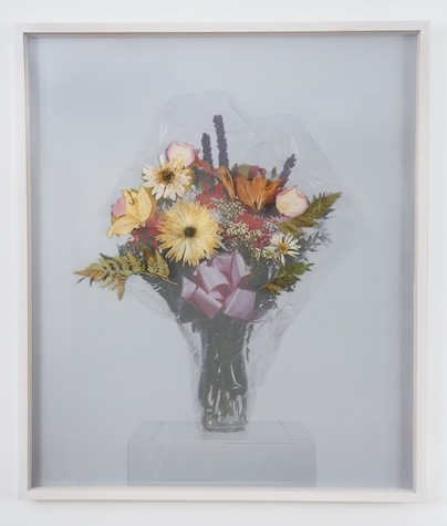 Mememnto Mori on Top   2013 Perforated vinyl print and print and dried flowers 39 x 33 ¾ in/ 100 x 85.7 cm