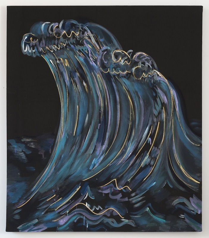 Black Wave Climax   2013 Acrylic on black cotton  42 x 36 in/ 106.7 x 91.4 cm