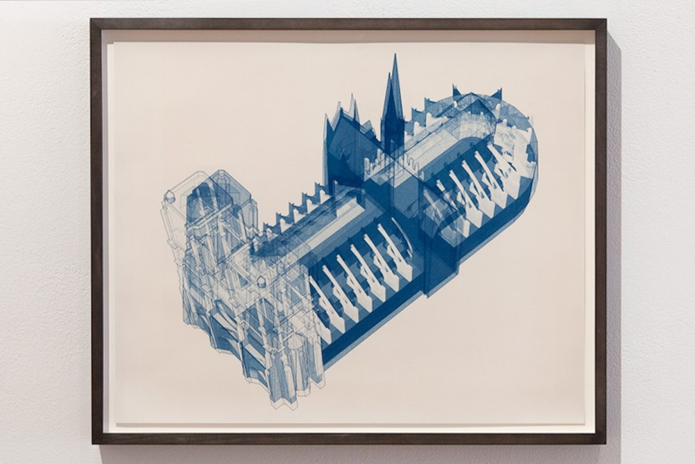 Echelon #25   2012  Axonometric and 27 mm perspective  Cyanotype on watercolor paper  20 x 16 in/ 50.8 x 40.6 cm  Edition 1 of 3