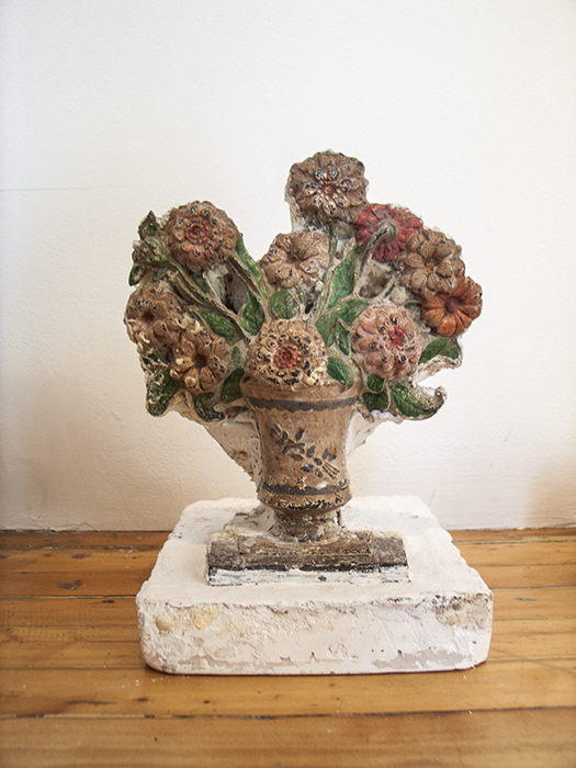 Life After Death Rose   2012  Found object, plaster and cast iron  10 x 11 x 7 ¼ in/ 25.4 x 27.9 x 18.4 cm