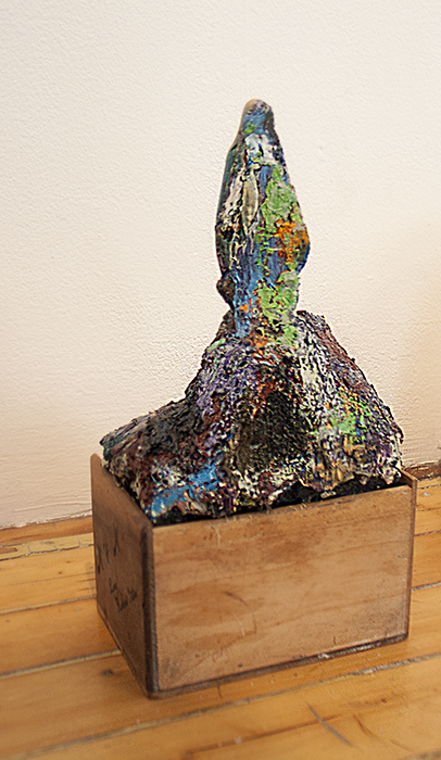 Lady   2012  Statue, oil paint and cigar box  10 x 5 ½ x 4 ½ in/ 25.4 x 14 x 11.4 cm