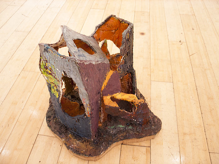 Church   2012  Cardboard, plaster and oil paint  12 ¼ x 11 x 14 in/ 31.1 x 27.9 x 35.6 cm