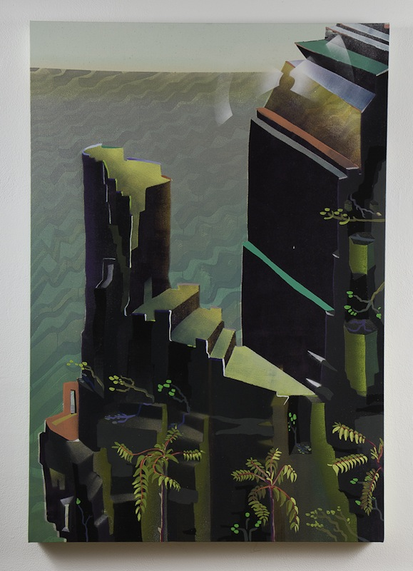 Melissa Brown  CastleRocks, Palisades, NY   2011 Oil, dye and spray paint on canvas 29 x 42 in/ 73.6 x 106.7 cm