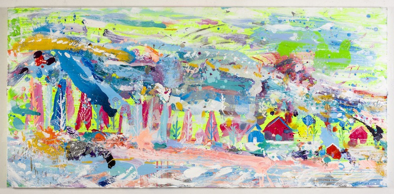 BRENDAN CASS  Sourkroukur   2011 Acrylic on canvas 39 x 84 in/ 99 x 213.4 cm