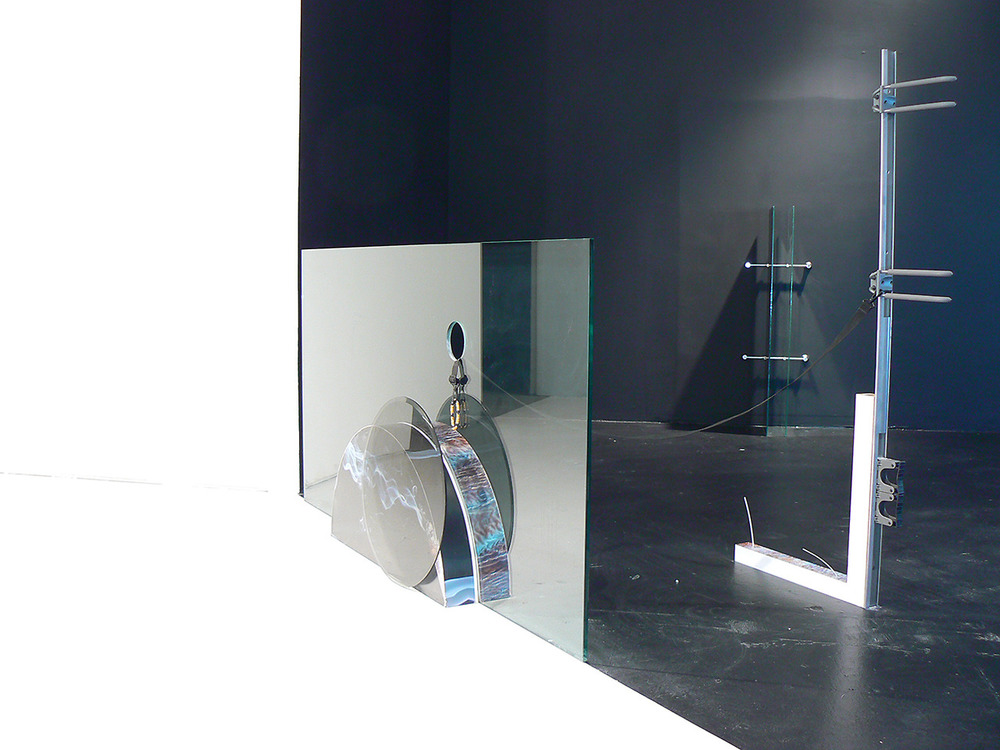 Wand  2013 glass, custom laminate, wood, Elfa storage rack, strap, bracelet Dimensions variable