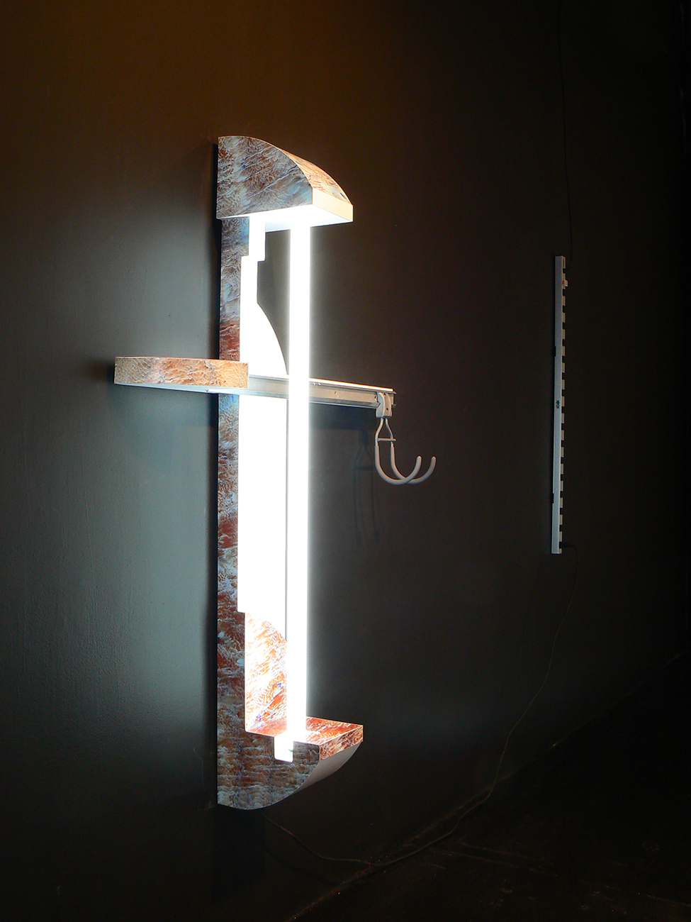 Araga Lamp 2013 Custom laminate, wood, fluorescent light, Elfa storage shelf and hook, power-strip 54 x 36 in/ 137.2 x 91.4 cm