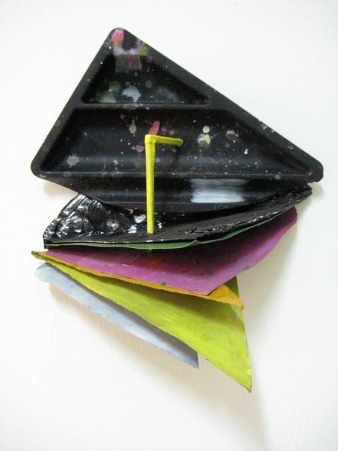 Elisa Lendvay  Manifold 2009 Plastic, aluminum, wood, paper, acrylic paint 14 x 11 x 9 in/ 35.6 x 27.9 x 22.9 cm