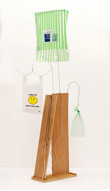 B. Wurtz  Untitled   2007 Wood, wire, plastic bags, mesh bag, string, clothespin, shoelace, string, and thread 78 x 22 x 36 in/ 198.1 x 55.9 x 91.4 cm