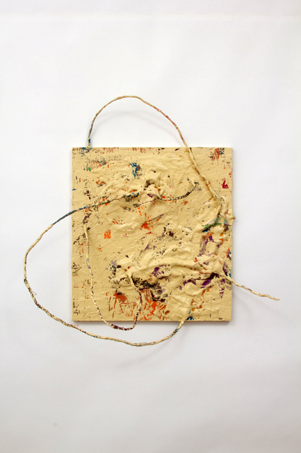 Fabienne Lasserre  Fingered   2011 Linen, acrylic polymer, enamel paint, MDF panel and steel wire 36 x 36 x 15 ½ in/ 91.4 x 91.4 x 39.8 cm