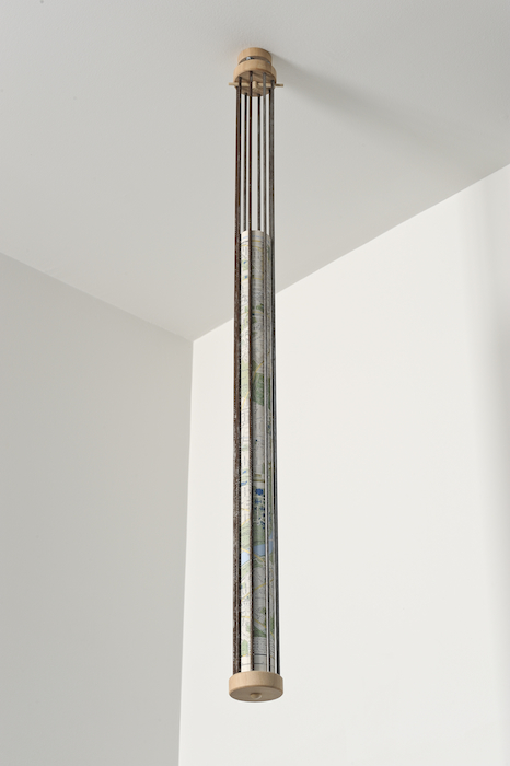 Map of Washington D.C.   2010 Wood, steel rods and map 37 x 2 ½ in/ 94 x 5.7 cm
