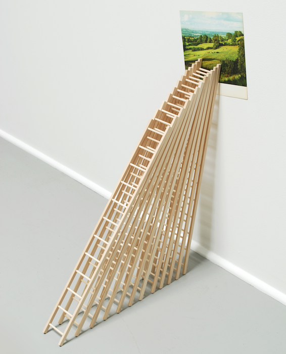 12 Ladders or How I Planned My Escape   2009 Wood and found image 30 x 22 x 9in/ 76.2 x 55.9 x 22.9 cm