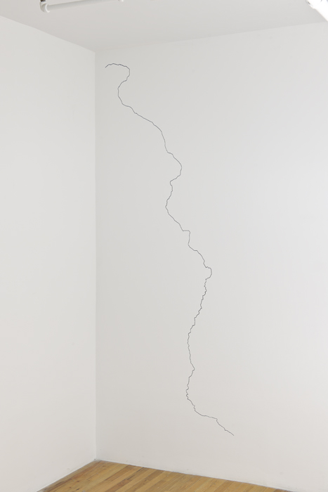 Mississippi   2009 Drywall, paint Dimensions variable, *The full length of the Mississippi River routed into sheetrock