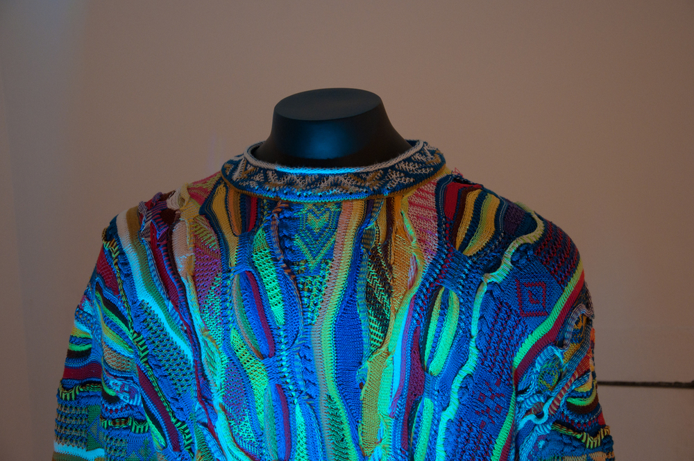 Constant Dullaart   Trui   DETAIL  2012  Coogi sweater, mannequin stand, RGB LED light  4 x 24 x 48 in/ 10.2 x 10.2 x 121.9 cm  Edition 1 of 3 with 2 AP