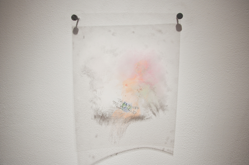 Ann Hirsch   The End of the World   2012  Puffy paint, colored pencil and pencil on transparency  8 ½ x 11 in/ 21.59 x 27.94 cm