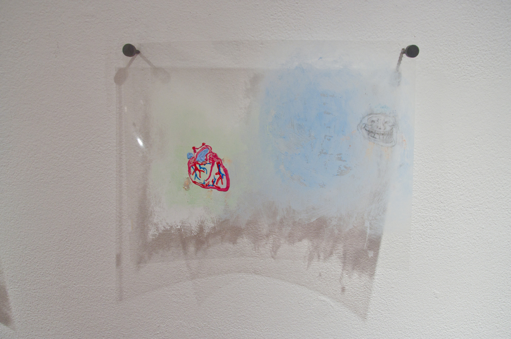 Ann Hirsch   Troll Face   2012  Puffy paint, colored pencil and pencil on transparency  8 ½ x 11 in/ 21.59 x 27.94 cm